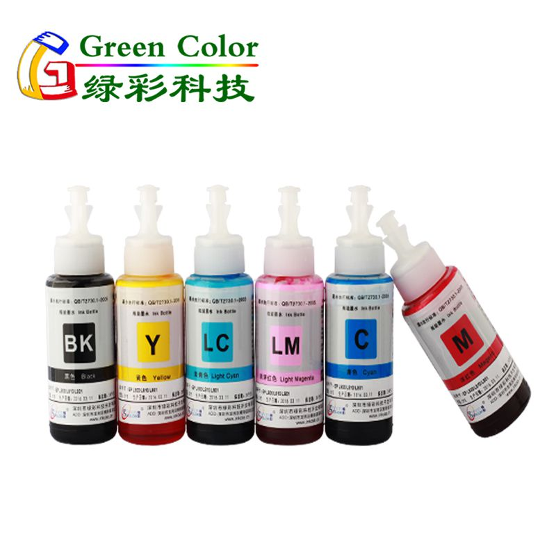 Greencolor 6c L801 refill dye ink for Epson Eco tank printer